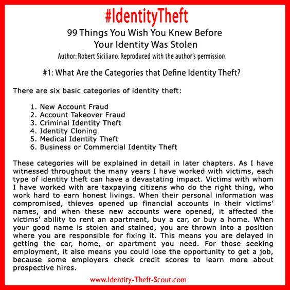 What Are The Categories That Define Identity Theft?