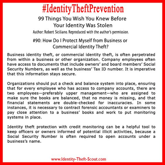 Protect Myself From Business Or Commercial Identity Theft