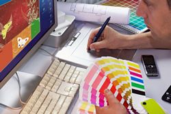 freelance designer at work