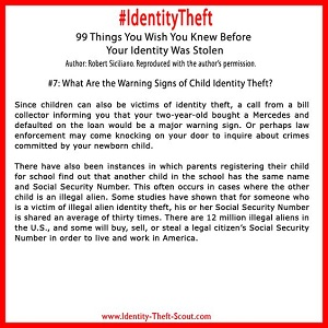 What are the warning signs of child identity theft?