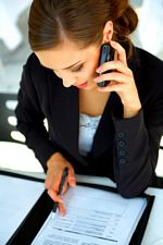 woman networking through phone contact
